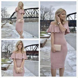 Pink faux suede off shoulder dress sz 10 12